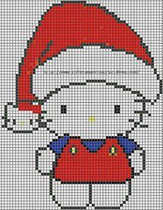 Christmas Hello Kitty perler bead pattern