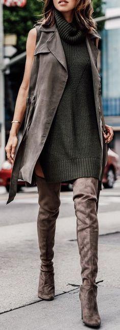 STUART WEITZMAN The ALLLEGS over-the-knee boots | ANTHROPOLOGIE draped trench vest & turtleneck sleeveless tunic | CELINE Medium Trotter bag...