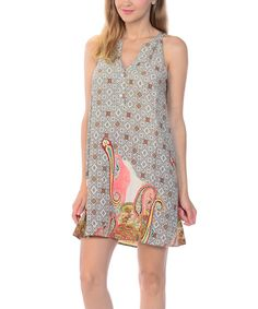 Take a look at this Pink Paisley Notch Neck Dress today!