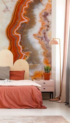Embrace colour in your home with this Vibrant Marble wall mural from Wallsauce.com! Just look at that selection of colours from vibrant reds, oranges, purples, and warm nutty browns. Place on your bedroom wall with a scalloped headboard and choose warm terracotta shades for your décor. Compliment with baby pink to brighten up the space and touches of grey to mirror the greys found in the marble layers. Get the look at Wallsauce.com!