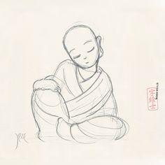Monk sketch by: 7e55e  #kawaii #buddhism