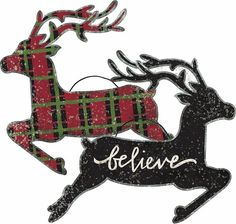 Deer Small Hanging Sign Large Ornament Reversible Red Plaid Black Believe #PrimitivesbyKathy