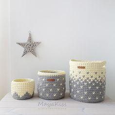 Cestos combinados Crochet trapillo ganchillo cestas