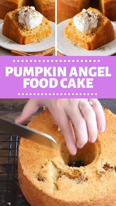 PUMPKIN ANGEL FOOD CAKE The perfect, quick, and easy fall dessert! This Pumpkin Angel Food Cake is light and airy with a hint of pumpkin! Serve with cool whip, then sprinkle with cinnamon and its ready to eat! Save this pin! Just Desserts, Delicious Desserts, Angel Food Cake Desserts, Angel Food Cake Mix, Pumpkin Angel Food Cake Recipe, Sugar Free Angel Food Cake Recipe, Angel Food Cake Frosting, Cool Whip Desserts, Pumpkin Cake Recipes