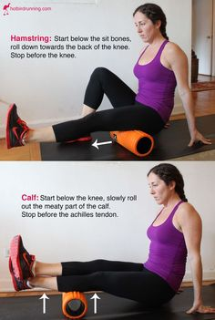 How to Foam Roll Your Hamstrings & Calves — Hot Bird Running - Runners have notoriously tight hamstrings. Foam rolling helps releases them and allows your muscle… Roller Stretches, Foam Roller Exercises, Calf Stretches, Hamstring Stretches, Stretching Exercises, Stretches For Tight Hamstrings, Flexibility Stretches, Hamstring Workout, Glute Exercises