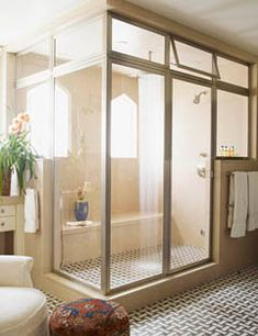 my next house will have a steam room/shower Large Bathrooms, Dream Bathrooms, Beautiful Bathrooms, Steam Room Shower, Steam Shower Enclosure, Jacuzzi, Bathroom Inspiration, Beautiful Homes, House Beautiful