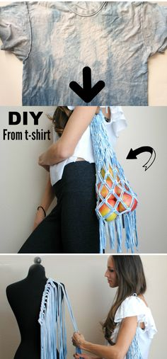 DIY: T-shirt into Macramé Market BagDIY: Turn an old t-shirt into this macrame market bag!How to Make a Drawstring Backpack Out of a T-shirtDraw String bag t shirt diyDIY: T-shirt into Macramé Market Bag DIY: Diy Clothes Refashion, Diy Clothing, Sewing Clothes, Trash To Couture, Diy Macrame Wall Hanging, Macrame Mirror, Macrame Curtain, Diy Clothes Videos, Diy Clothes To Sell