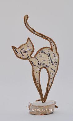 Paper Fairy - Cat - Technique by Epistlyle - workChristmas - Papierarbeiten - Origami Cat Crafts, Wire Crafts, Arts And Crafts, Copper Wire Art, Copper Jewelry, Diy Paper, Paper Art, Sculptures Sur Fil, Diy Cat Toys
