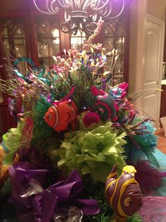 little mermaid birthday party center piece