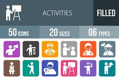50 Activity Flat Round Corner Icons by IconBunny on @creativemarket
