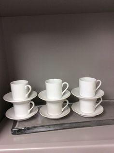 Vintage stackable white porcelain espresso cups (set of 7)