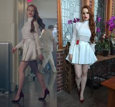 "2x05 Cheryl Blossom (Madelaine Petsch) wears this white sheer mock neck long sleeved blouse with flippy asymmetrical hem mini skirt in this episode of Riverdale, ""Chapter Fourteen: A Kiss Before Dying"". It was custom made by the costume department. Worn with: Christian Louboutin Heels, Cherry Brooch Also worn in Season 1 Episode 13"