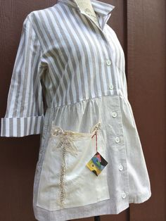 Stripped cotton baby doll blouse with vintage lace by lbalombini, $125.00