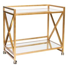 Gold-leaf bar cart with mirrored shelves.