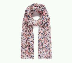 Pink Blossom Print Scarf Pink Multi Coloured Flowers Floral Vintage Style