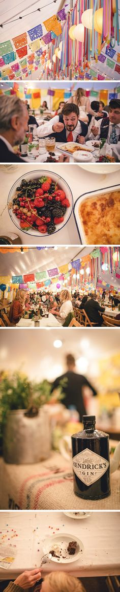 Mexican fiesta-decorated reception tent.