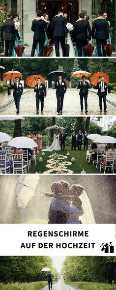 Eine Hochzeit bei Regen ist kein Weltuntergang. Wir haben tolle Tipps für Euch, wir Ihr Regen am Hochzeitstag mit Schirmen zum Highlight machen könnt.