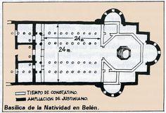 La Basílica de Belén fue construida hacia el año 333 y se conformó por un edificio de planta cuadrada de unos 29 m. de lado, que alojaba un cuerpo basilical de cinco naves longitudinales, y un octógono en su cabecera, que sustituía al ábside, a la vez que interrumpía al bajo transepto. Desde una amplia explanada se accedía a un atrium rectangular y a un nártex, que a modo de propíleo se anteponía a la basílica. El octógono ...