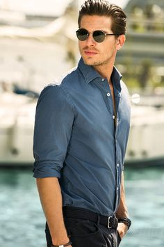 El Color Azul-gris es mas recomendable en hombrres con coloraciones que tienden a ser clasificados como estacion Verano.  Massimo Dutti Men's Lookbook of June: Dutti office closed for holidays and move to the sea ~ Men Chic- Men's Fashion and Lifestyle Online Magazine
