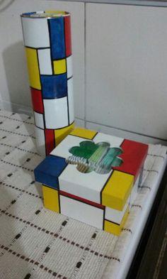 caja de te y lata porta fideos estilo Mondrian