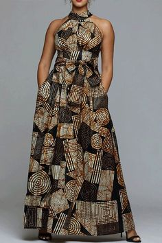 Shop VERWIN Floor Length Lace-Up High Waist Stand Collar Sleeveless Women's Maxi Dress Print Dress. Latest African Fashion Dresses, African Print Dresses, African Print Fashion, Ethnic Fashion, African Dress, Ankara Dress Styles, African Attire, African Wear, African Style