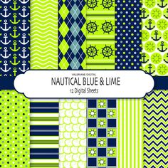 Blue and Lime Nautical digital papers nautical by ValerianeDigital  https://www.etsy.com/listing/101253068/blue-and-lime-nautical-digital-papers?ref=shop_home_active_22
