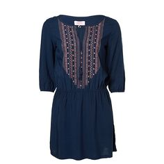 Piping Hot Embroidered Yoke Dress - Medieval Blue