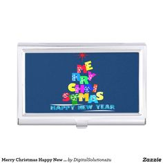 Merry Christmas Happy New Year Business Card Holder