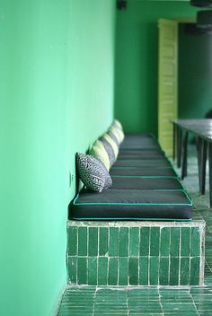 green is one of my favorite color. so let's think green today because of spring time! green is classy. le vert c'est classe via Color Inspiration, Interior Inspiration, Design Hotel, House Design, Garden Design, Mediterranean Tile, Green Rooms, Home And Deco, Interior Exterior