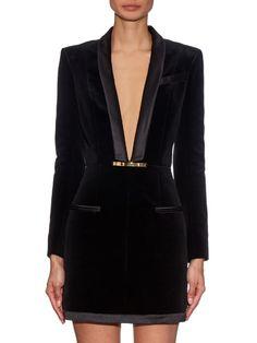 Balmain V-neck velvet dress