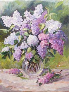 Lilacs Still Life in Vase Original Oil Painting on Canvas Floral Art Wall Decor. $120.00, via Etsy.