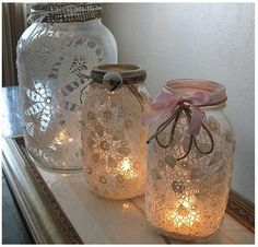 Mason jar crafts are infinite. Mason jars are usually used for decorators, wedding gifts, gardening ideas, storage and other creative crafts. Here are some Awesome DIY Mason Jar Crafts & Projects that can help you reuse old Mason Jars for decoration Lace Mason Jars, Mason Jar Crafts, Fun Crafts, Diy And Crafts, Arts And Crafts, Decor Crafts, Glass Jars, Candle Jars, Glass Candle