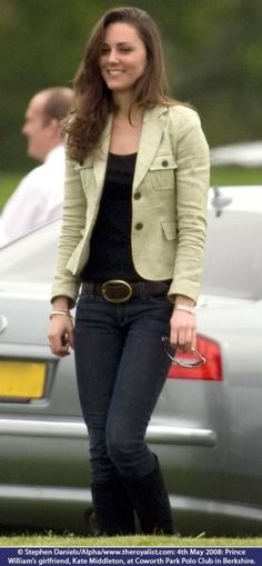 Kate Middleton casual street style from before her marriage jeans, T-shirt, jacket