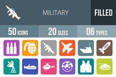 50 Military Flat Round Corner Icons by IconBunny on @creativemarket