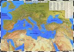 Роскошная карта Итальянской империи на 211 год. На церковно-римском языке.  An Incredibly Detailed Map of the Roman Empire in 211 CE