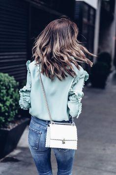 Le Fashion Blog Mint Ruffle Sleeve Top White Scalloped Crossbody Bag Via The Viva Luxury
