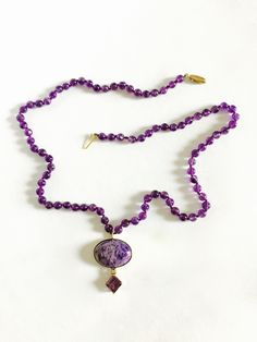 Triangle Shaped Pendant Sterling Silver Hand Cut Beads Boho Heavy 18 Inches Long Vintage Amethyst Beaded Necklace Artisan Made Necklace