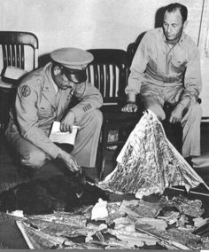 In 1947, something crashed in Roswell, NM. Was it an alien spacecraft? Or was it a weather balloon? This photo shows (supposedly) the remains of whatever crashed.