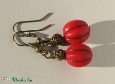 Piros howlit fülbevaló, Ékszer, óra, Fülbevaló, Ékszerkészítés, Meska Personalized Items, Italian Jewelry