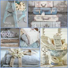 Collage by Miss Lily Bliss Decoration Shabby, Shabby Chic Decor, Collages, Deco Champetre, Mood Colors, Color Collage, Beautiful Collage, Colour Board, New Blue