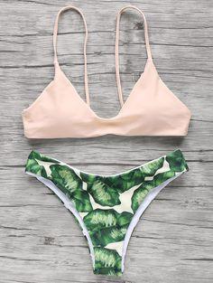 Print Cami Elastic Bikini Set PINK: Bikinis | ZAFUL