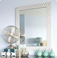 Make a West Elm Inspired Herringbone Mirror with Fabric