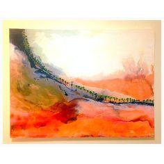 Rusty Fence Line [140cm x 76cm] jujuroche.com  Indian powder pigment, shellac, acrylic on canvas