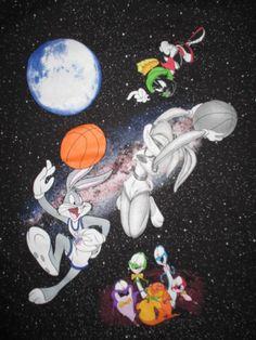 Retro-SPACE-JAM-Taz-Bugs-Bunny-Wile-Coyote-Youth-LG-T-Shirt-MICHAEL-JORDAN