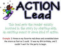 Action Lead, and five others to help your students add brilliant beginnings to their writing. Smart Board file also available. Writing Lists, Writing Strategies, Writing Lessons, Writing Resources, Teaching Writing, Writing Activities, Writing Prompts, Writing Ideas, Start Writing