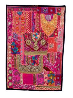 Antique Banjara Patchwork Indian Handmade Embroidered Gypsy Vintage wall tapestry-Handicraft pacth work wall curtain