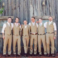 The guys will wear beige vest and pants