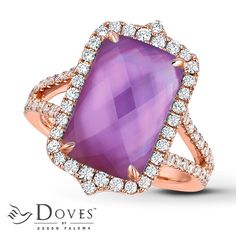 Doublet Ring by Doves Amethyst/Mother-of-Pearl 14K Rose Gold