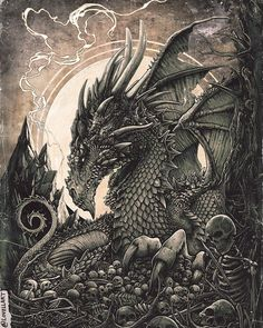 The Dragon and the Skeleton Fantasy. Character Drawings Portraits and Monsters. By Christopher Lovell.