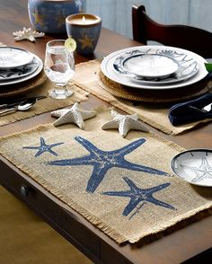 Set your table with a coastal attitude by using burlap starfish placemats & other accessories. Coastal Style, Coastal Living, Coastal Decor, Seaside Decor, Coastal Cottage, Marine Style, Beach House Decor, Home Decor, Beach Houses